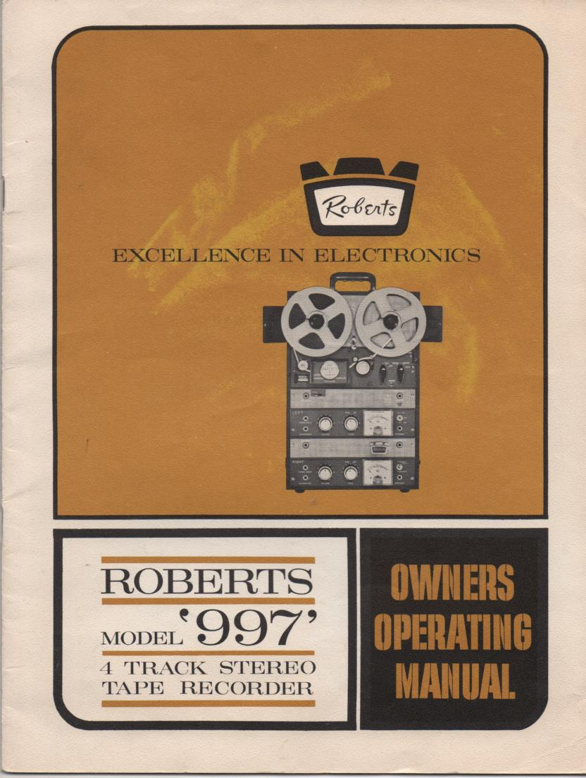 997 Reel to Reel Operating Instruction Manual  ROBERTS