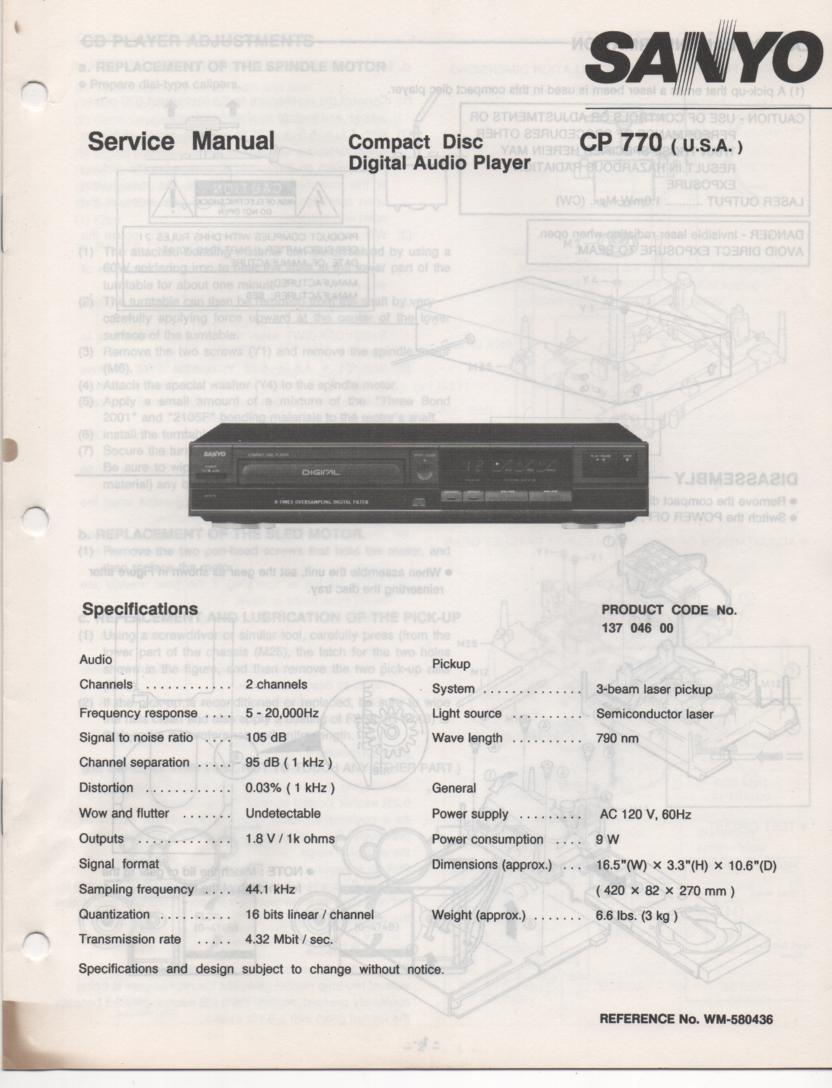 CP770 CD Player Service Manual