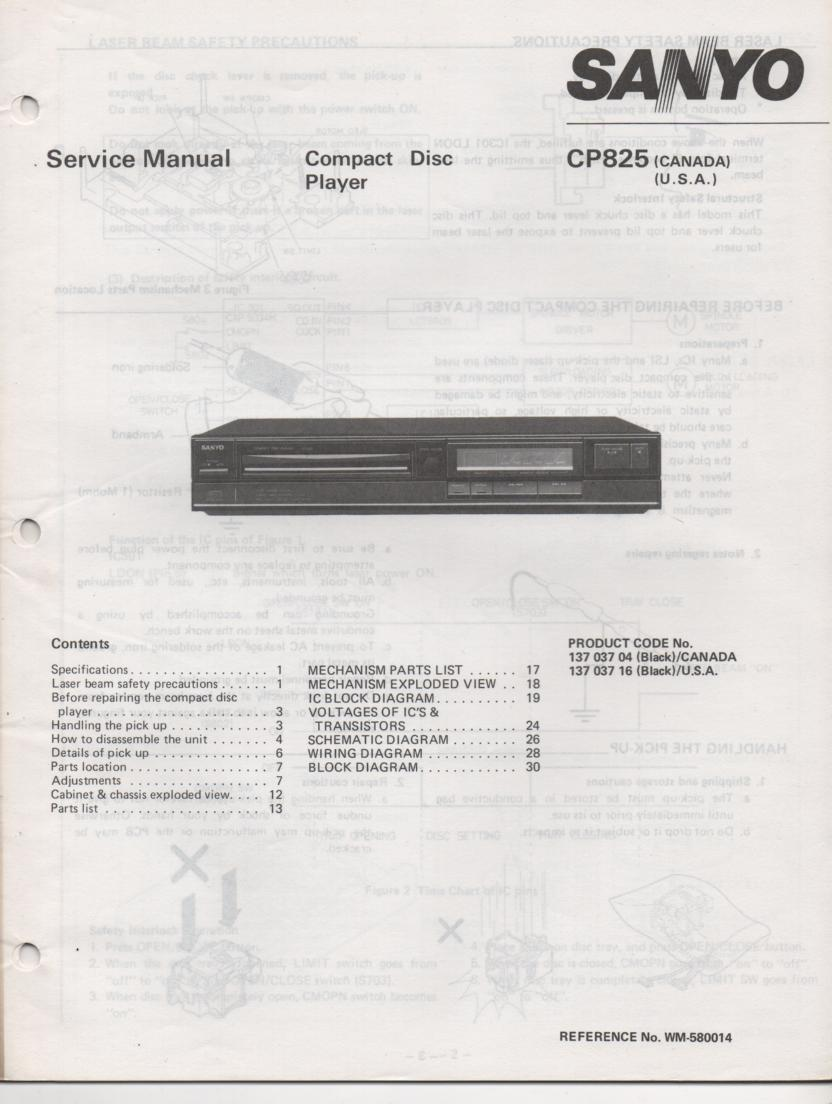 CP825 CD Player Service Manual