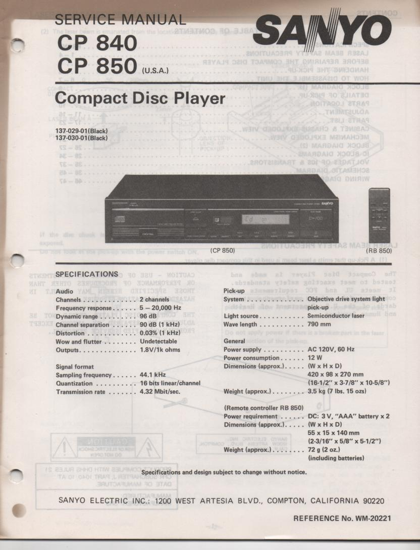 CP840 CP850 CD Player Service Manual