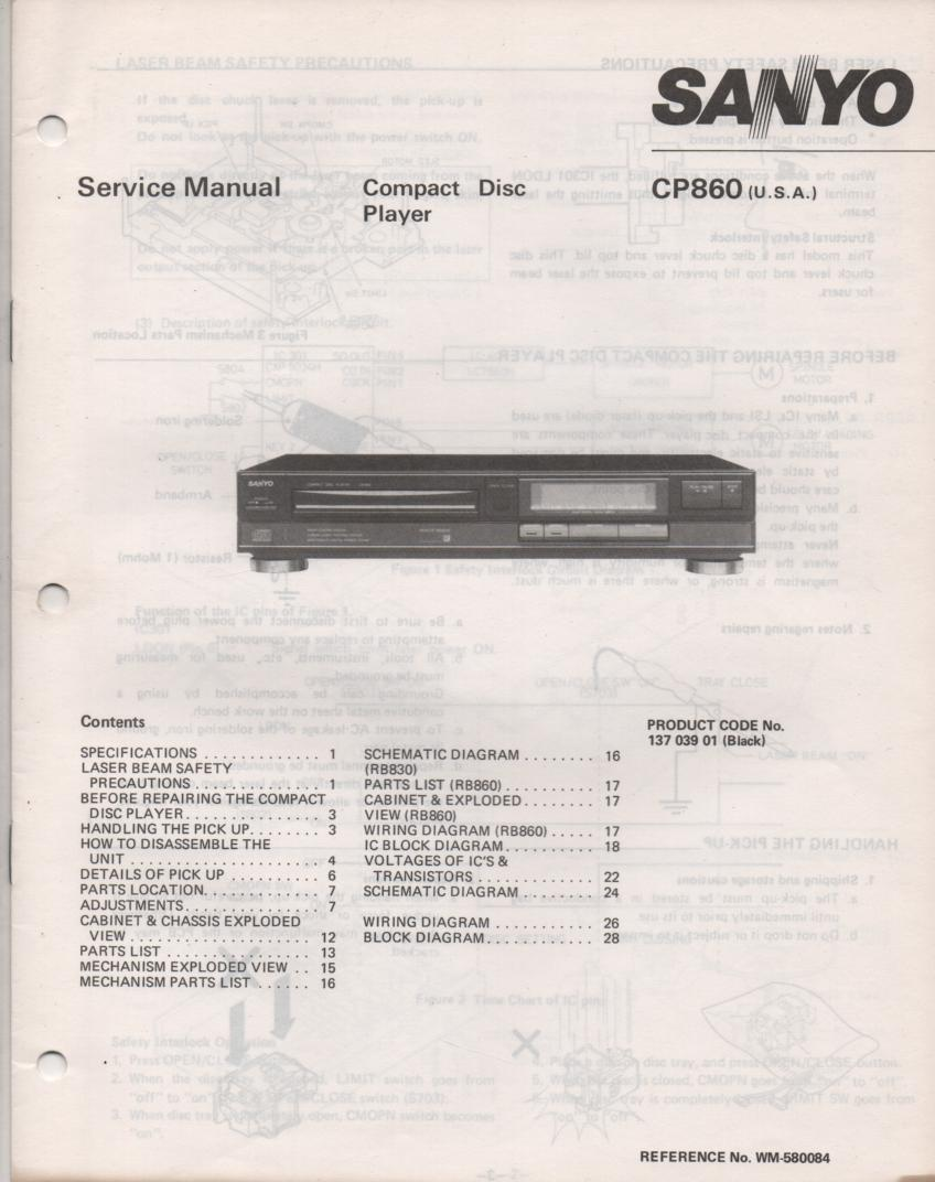 CP860 CD Player Service Manual