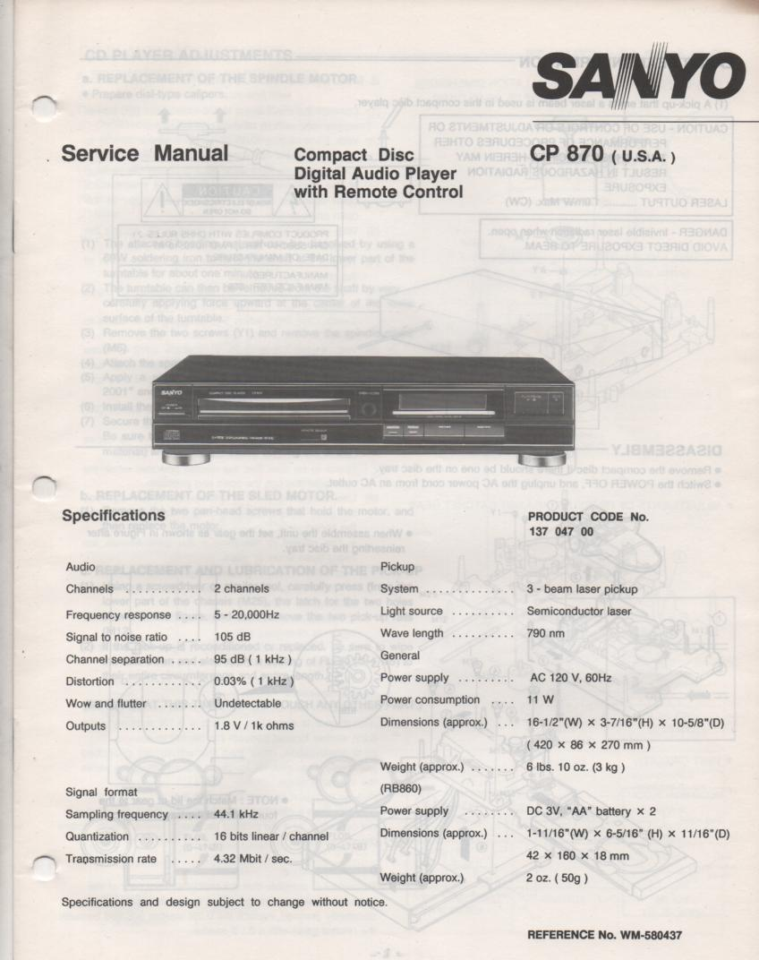 CP870 CD Player Service Manual