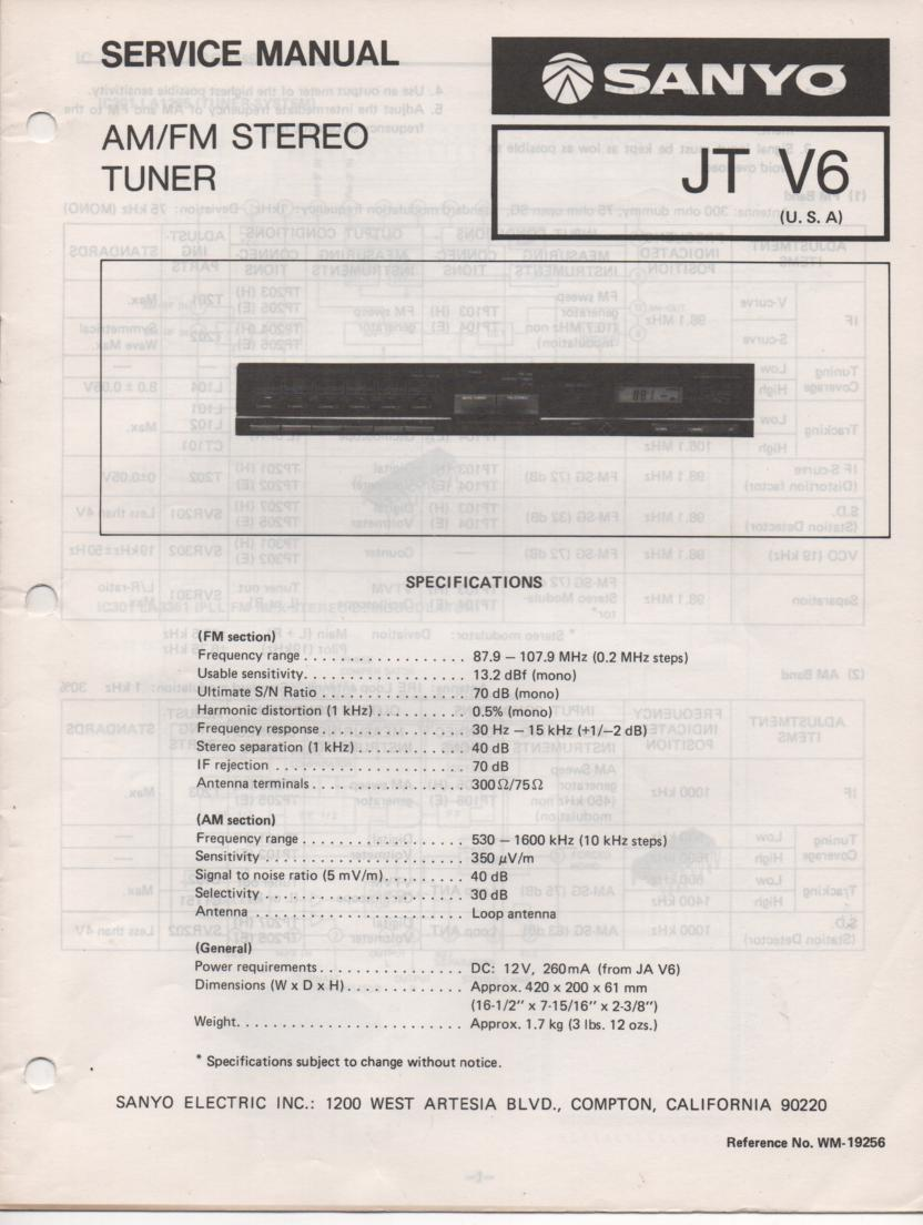 JT V6 AM FM Tuner Service Manual  SANYO