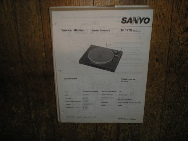 TP1770 Turntable Service Manual  SANYO