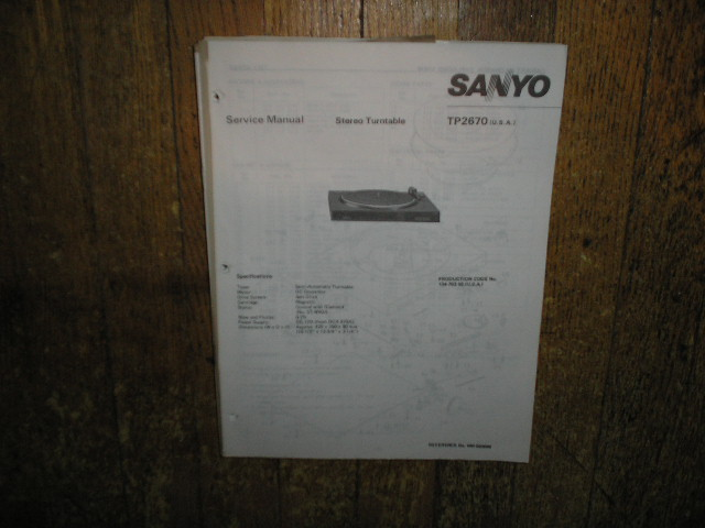 TP2670 Turntable Service Manual  SANYO