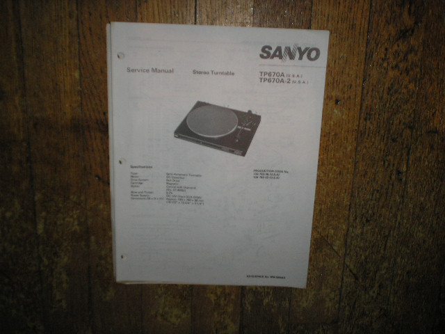 TP670A TP670A-2 Turntable Service Manual  SANYO