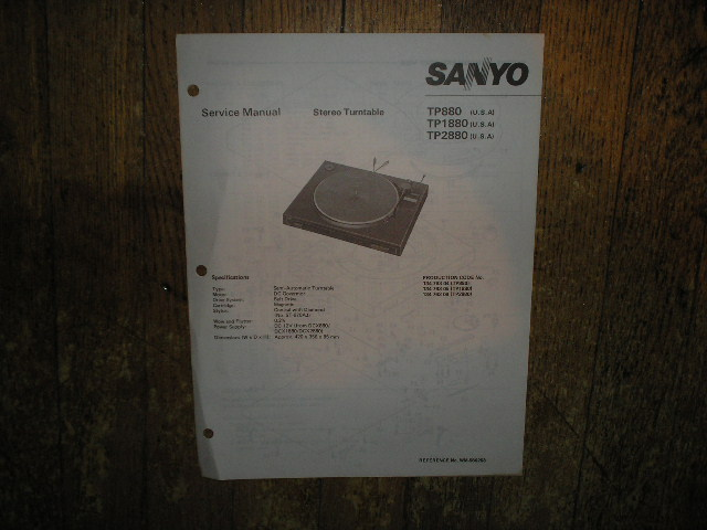 TP880 TP1880 TP2880 Turntable Service Manual  SANYO