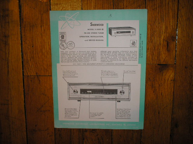 S-3000 III Tuner Service Manual 2 for Serial no 334351 and up  Sherwood