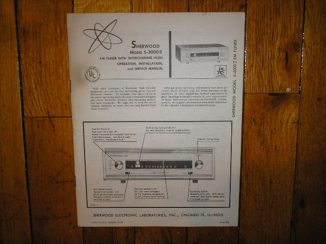 S-3000 II Tuner Service Manual 2 for Serial no 936000 and up  Sherwood