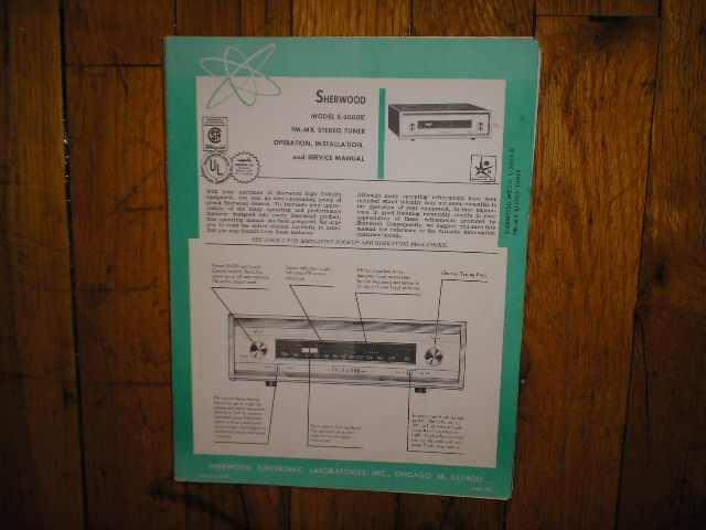 S-3000 V Tuner Service Manual 2 for Serial no 334926 and up  Sherwood