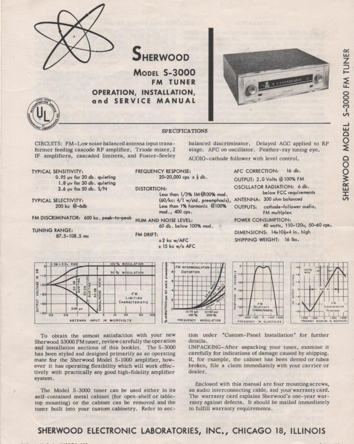 S-3000 Tuner Operating Installation and Service Manual 2 for Serial Number 38,000 and Up.  Tubes are 6X4, 12AT7, 4 6AU6, 6BN8, 6BR5, 6AB4, 6BS8..