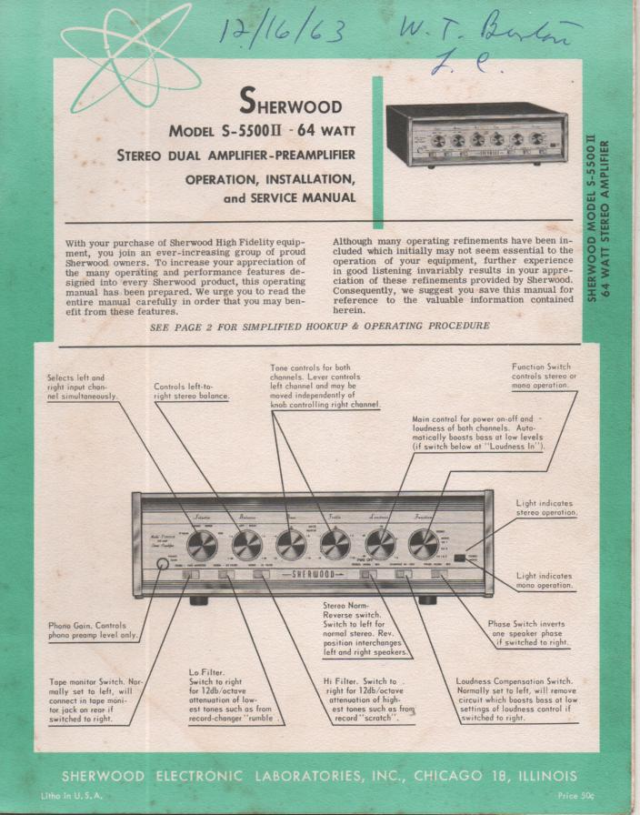 S-5500 II Amplifier Pre-Amplifier Service Manual for Serial no. K38634 and up.. Tubes are 4 7868 5 12AX7 or ECC83