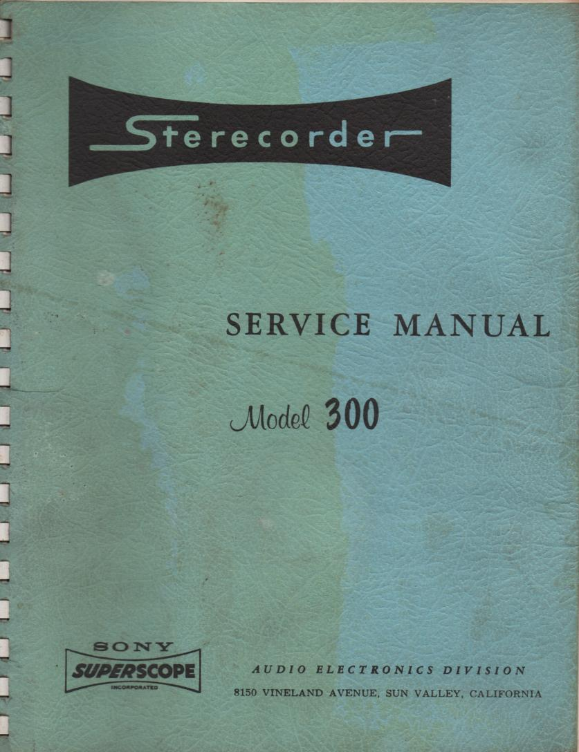 300 Reel to Reel Service Manual  Sony