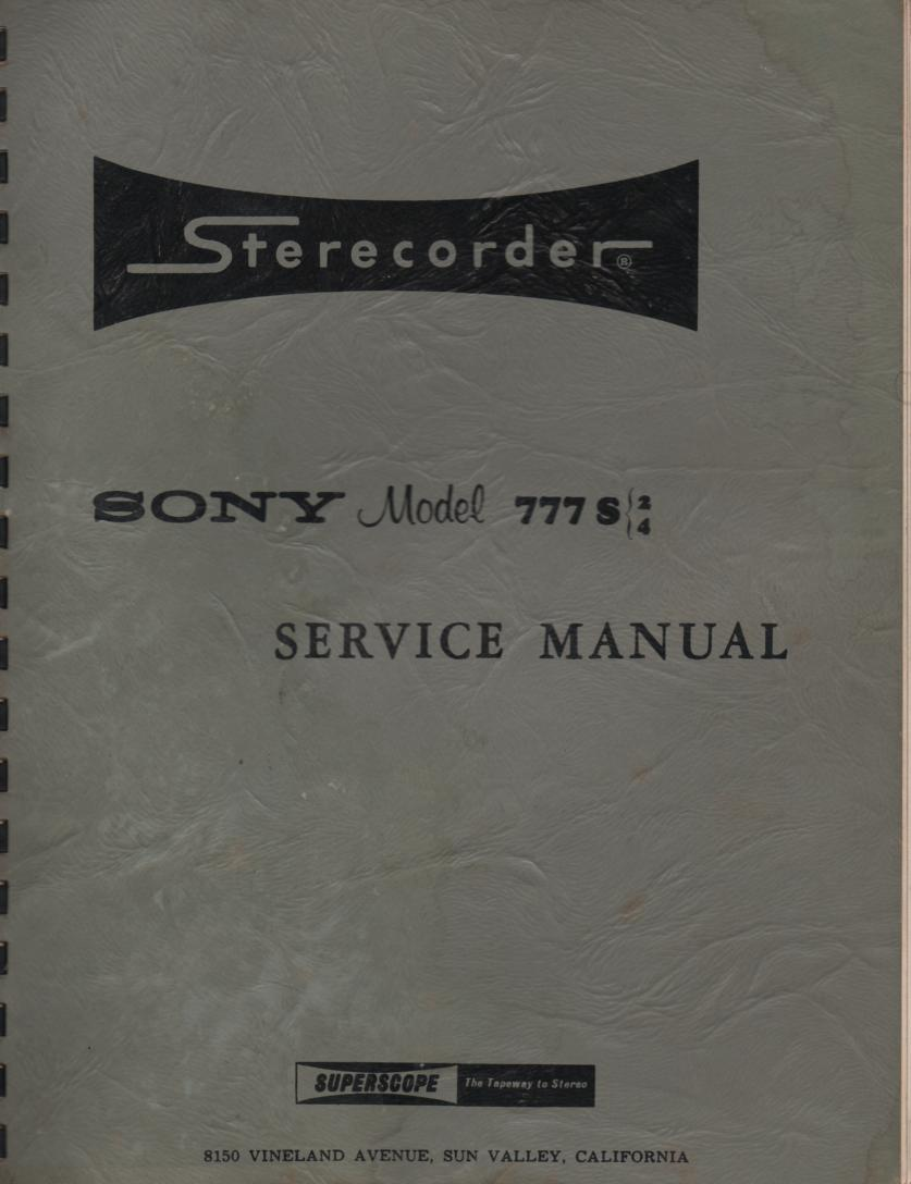 777S-2 777S-4 Reel to Reel Service Manual  Sony