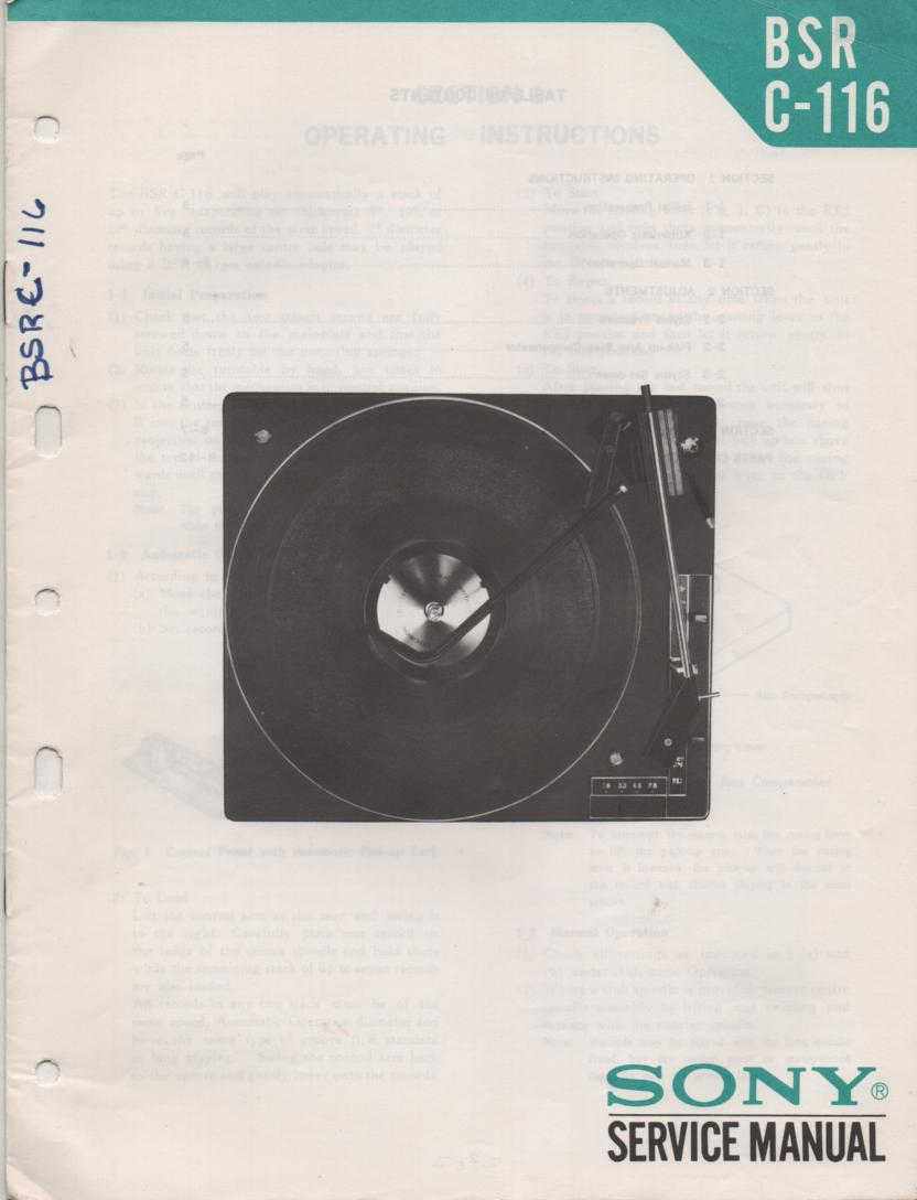 C-116 Turntable Service Manual  Sony