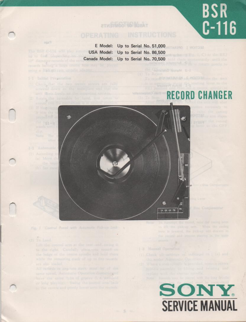 C-116 Turntable Service Manual 2  Sony