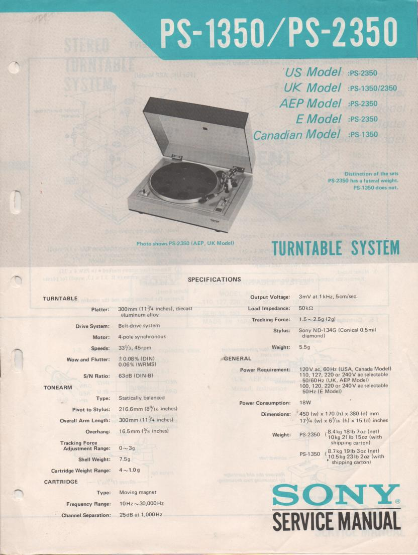 PS-1350 PS-2350 Turntable Service Manual  Sony