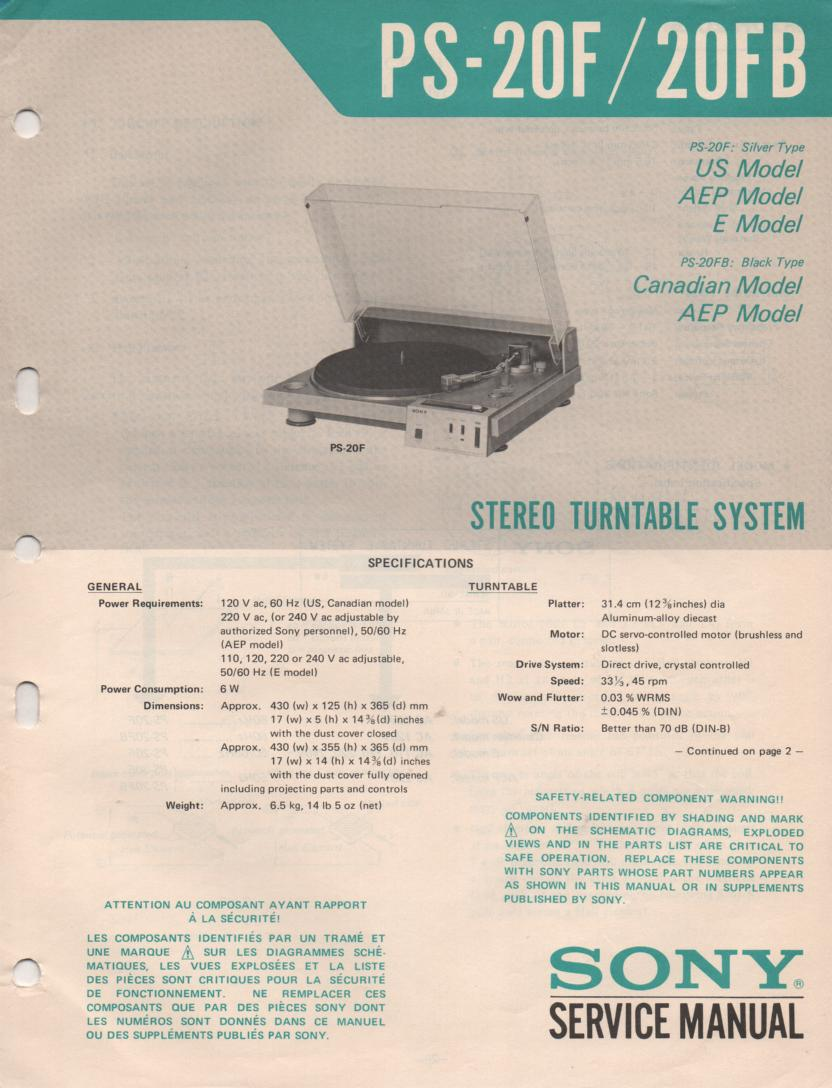 PS-20F PS-20FB Turntable Service Manual  Sony