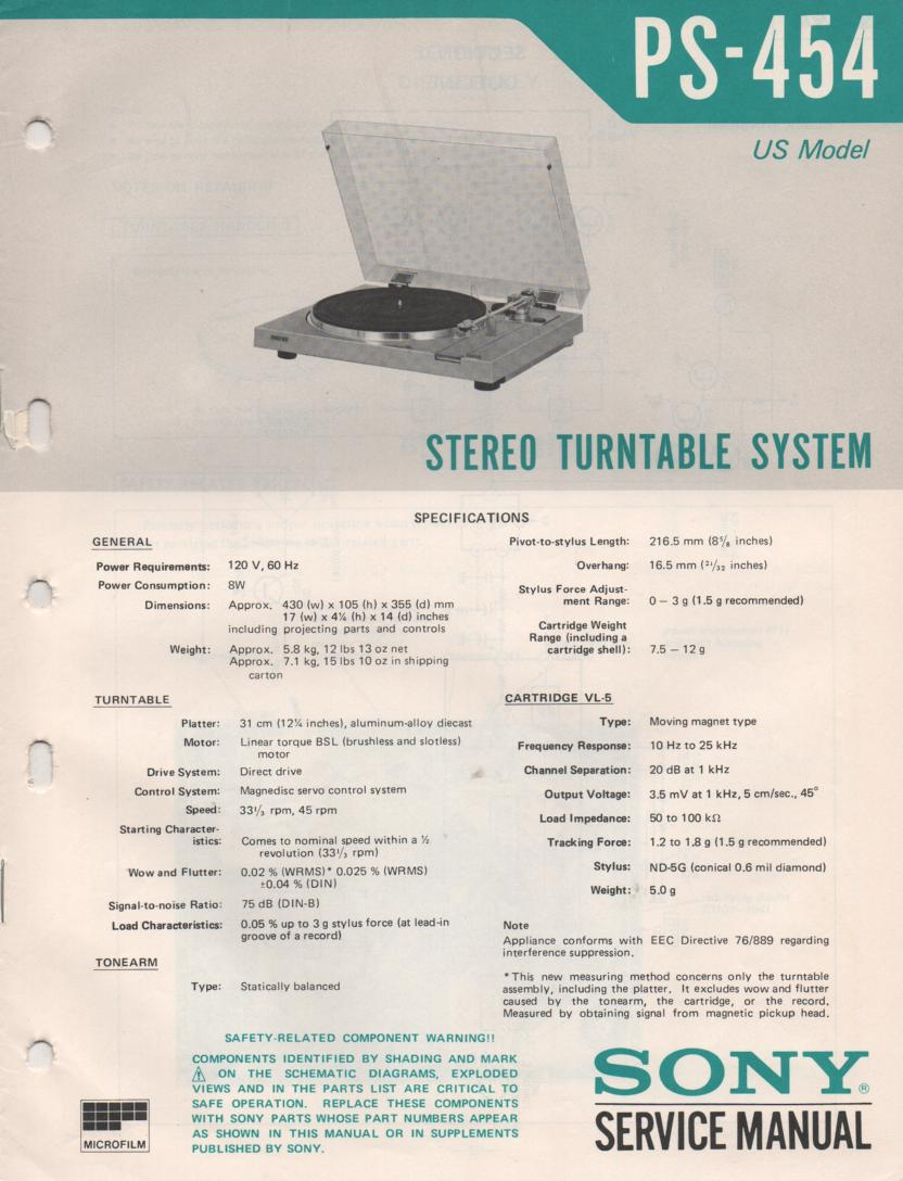 PS-454 Turntable Service Manual  Sony