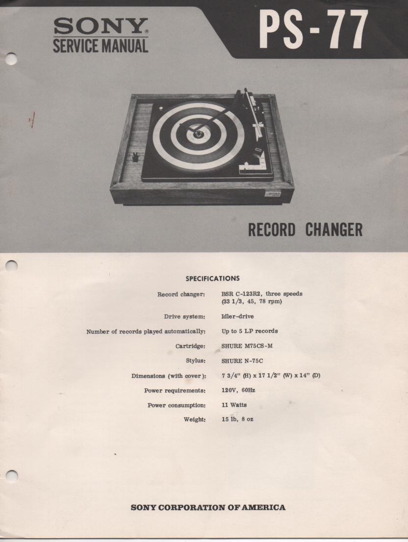 PS-77 Turntable Service Manual  Sony
