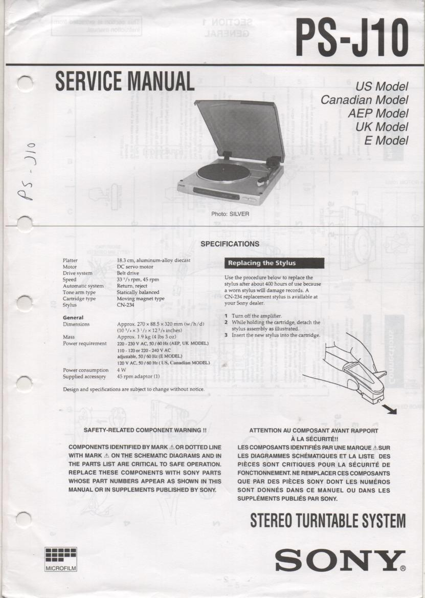 PS-J10 Turntable Service Manual  Sony