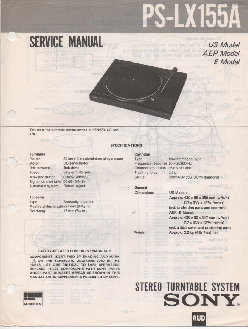 PS-LX155A Turntable Service Manual  Sony