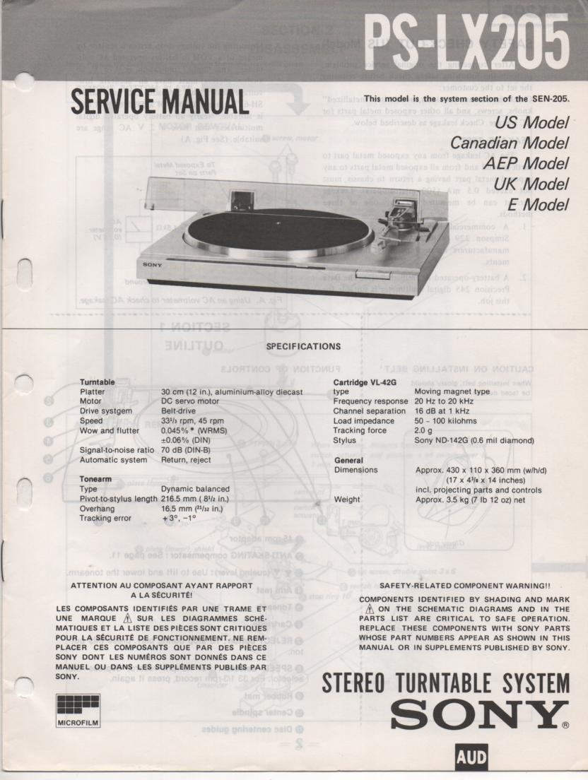 PS-LX205 Turntable Service Manual  Sony