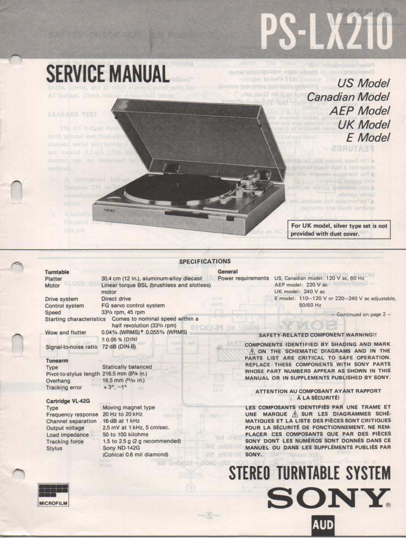 PS-LX210 Turntable Service Manual  Sony