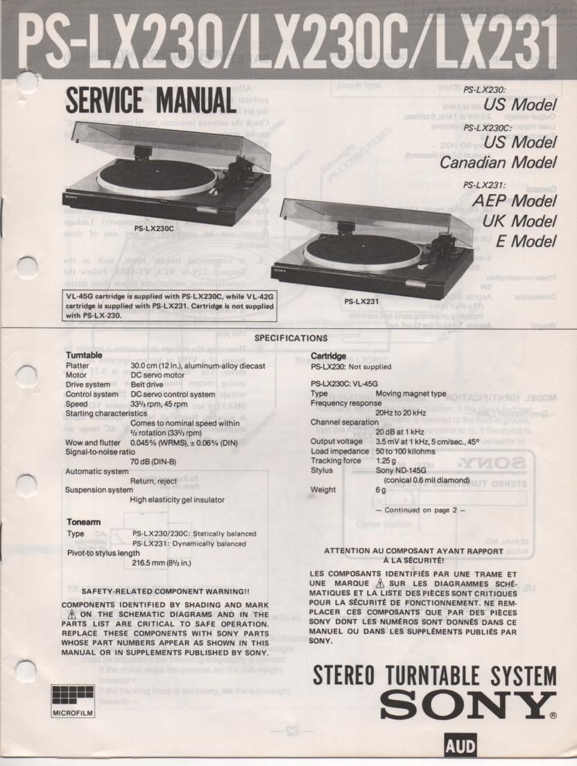PS-LX230 PS-LX230C PS-LX231 Turntable Service Manual  Sony