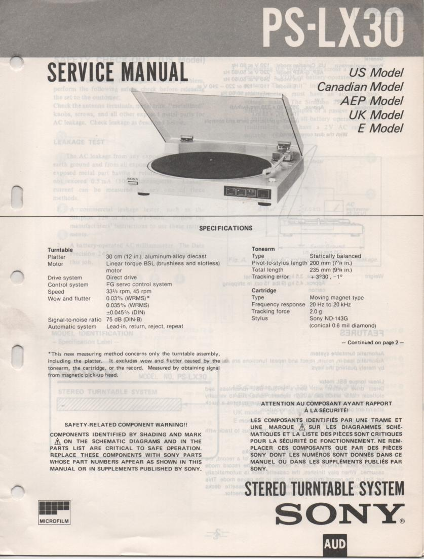 PS-LX30 Turntable Service Manual  Sony