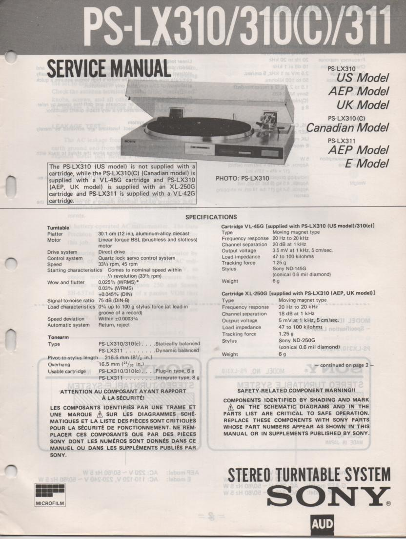 PS-LX310 PS-LX310C PS-LX311 Turntable Service Manual  Sony