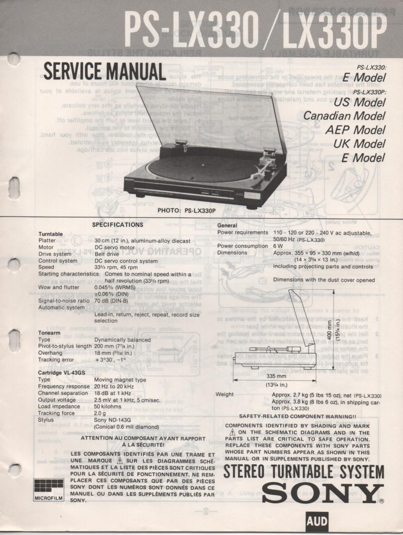 PS-LX330 PS-LX330P Turntable Service Manual  Sony