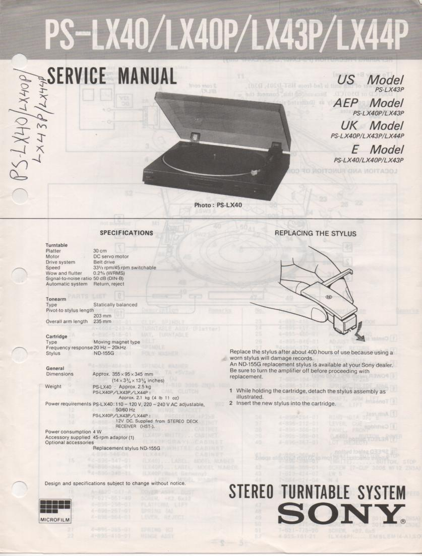 PS-LX40 PS-LX40O PS-LX43P PS-LX44P Turntable Service Manual  Sony