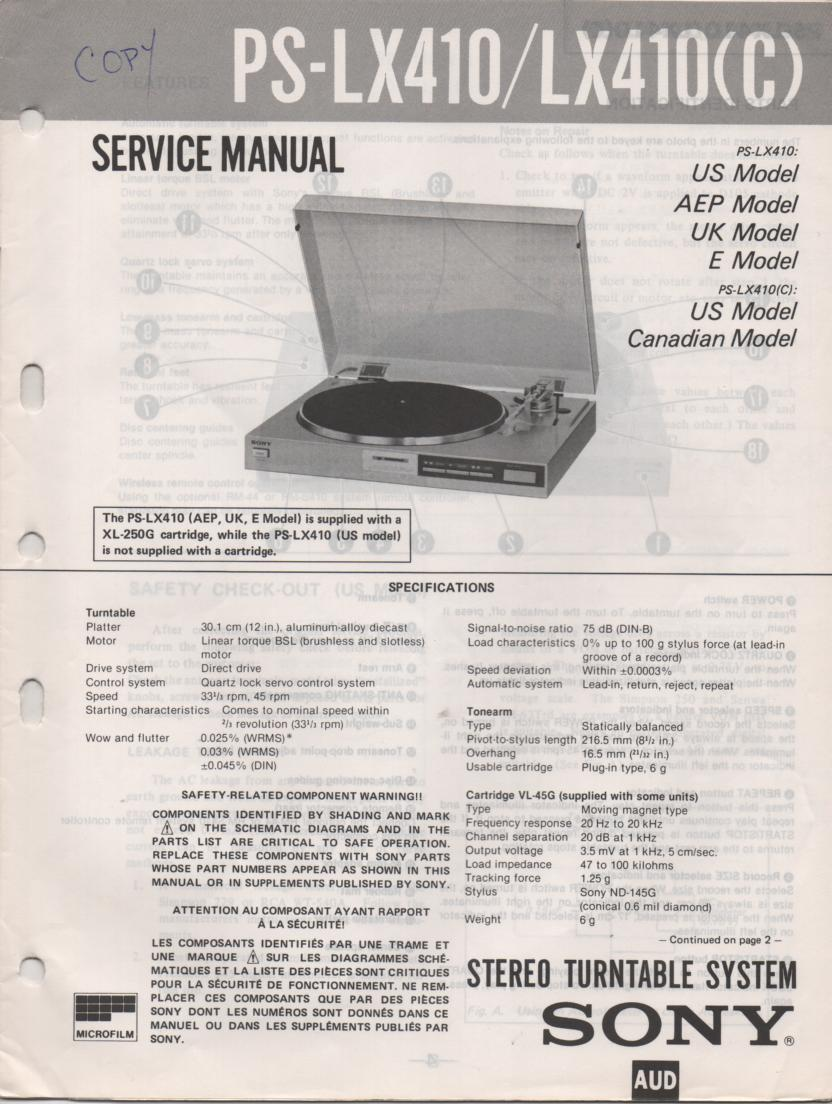 PS-LX410 PS-LX410C Turntable Service Manual  Sony