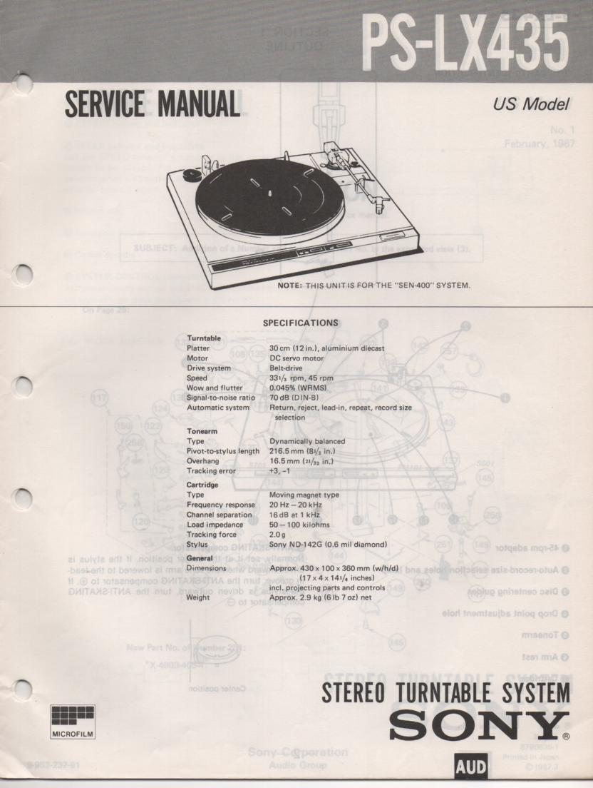 PS-LX435 Turntable Service Manual  Sony