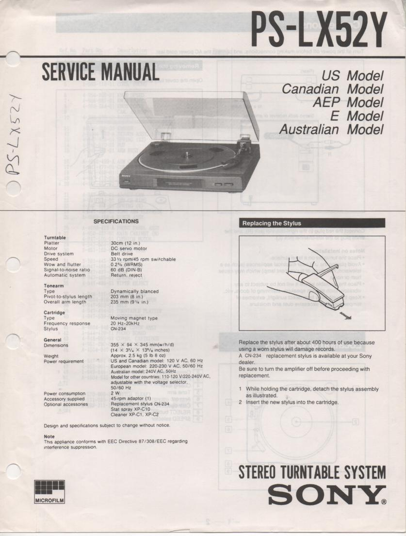 PL-X52Y Turntable Service Manual  Sony