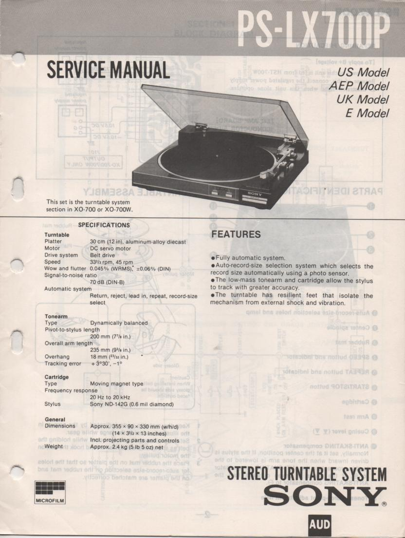 PS-LX700P Turntable Service Manual  Sony