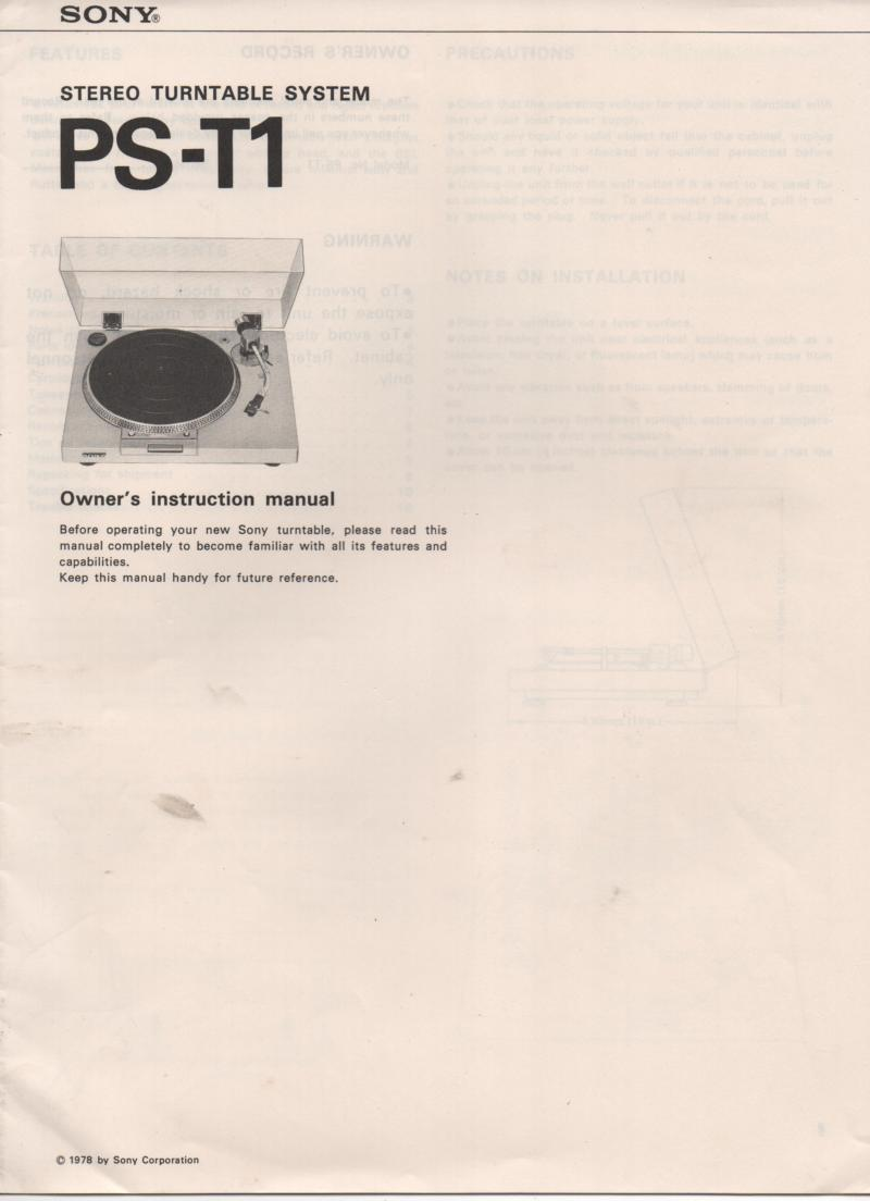 PS-T1 Turntable Service Manual  Sony