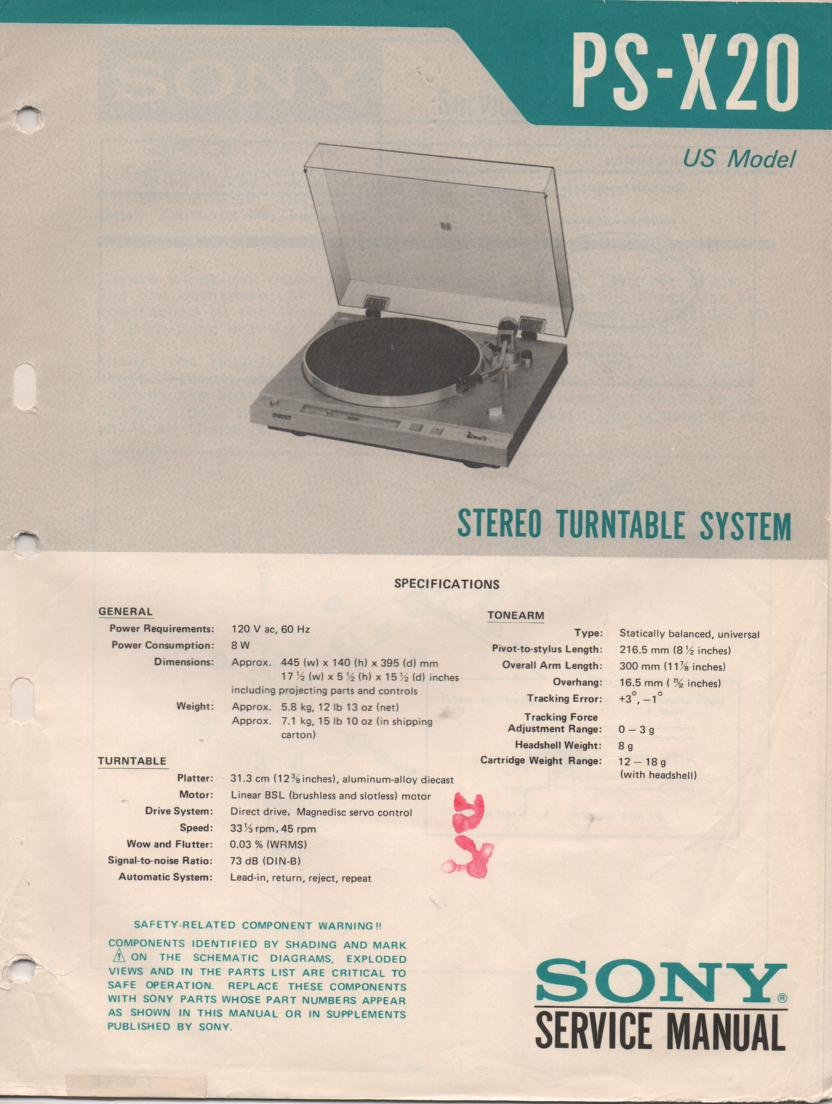 PS-X20 Turntable Service Manual  Sony