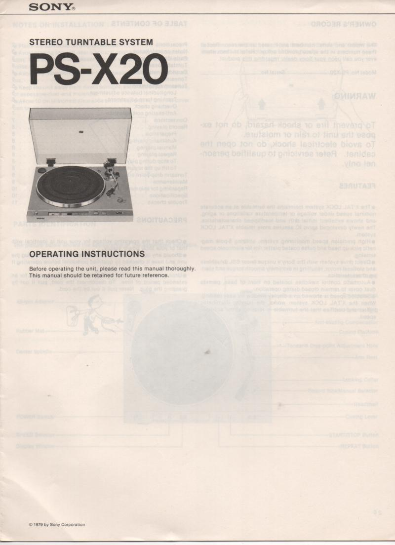 PS-X20 Turntable Operating Instruction Manual  Sony