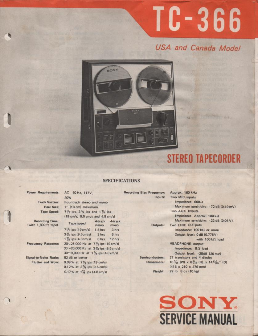 TC-366 Reel to Reel Service Manual  Sony
