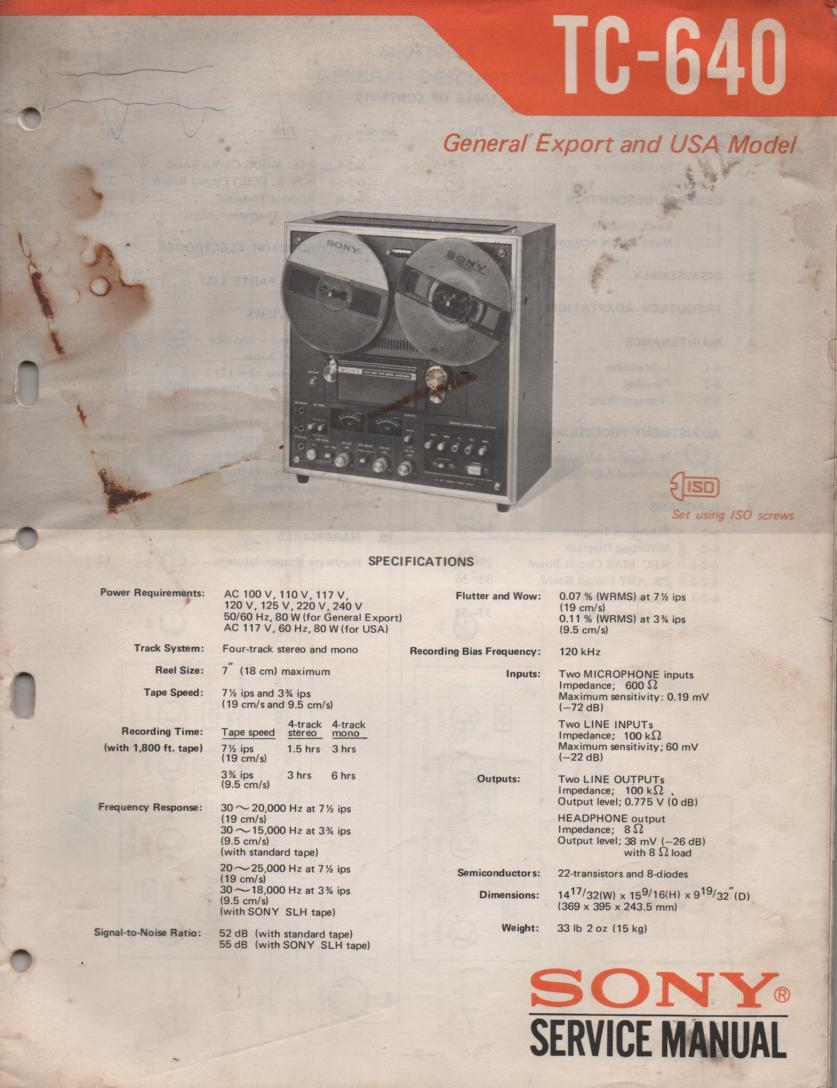TC-640 Reel to Reel Service Manual  Sony
