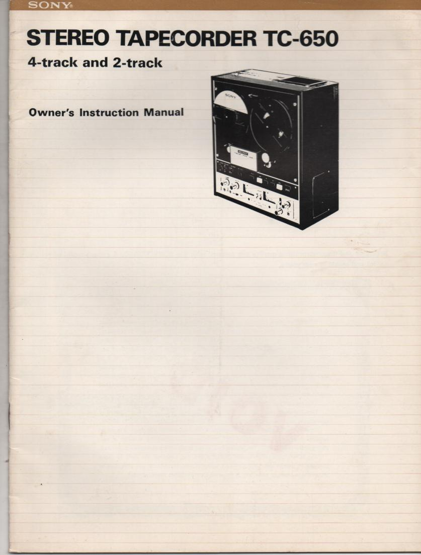 TC-650 Reel to Reel Owners Manual  Sony