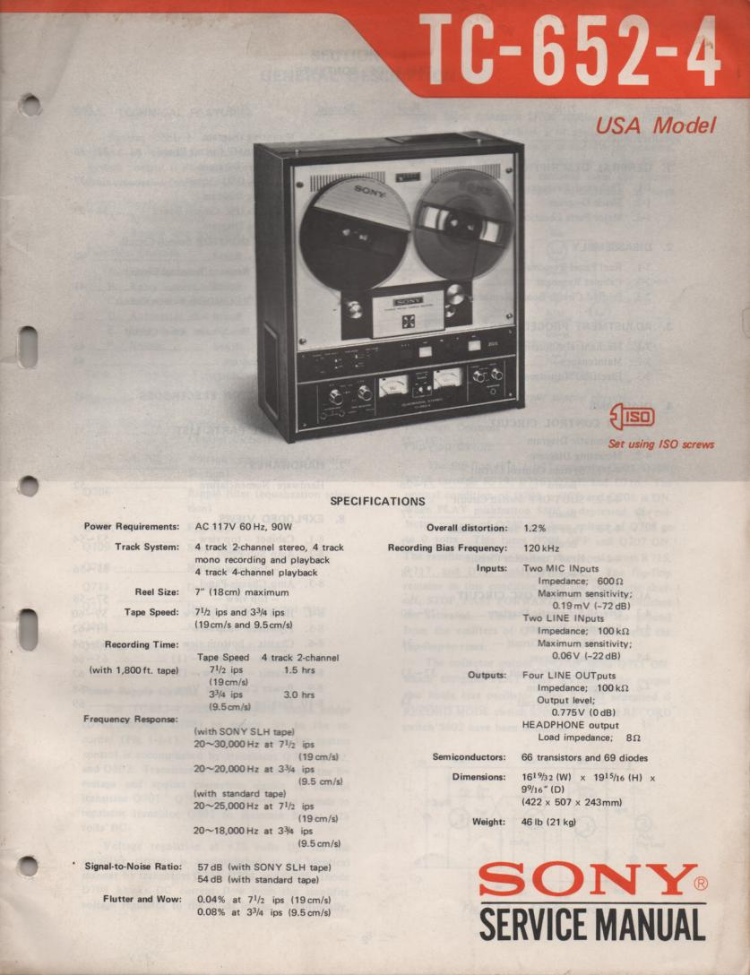 TC-652-4 Reel to Reel Service Manual  Sony