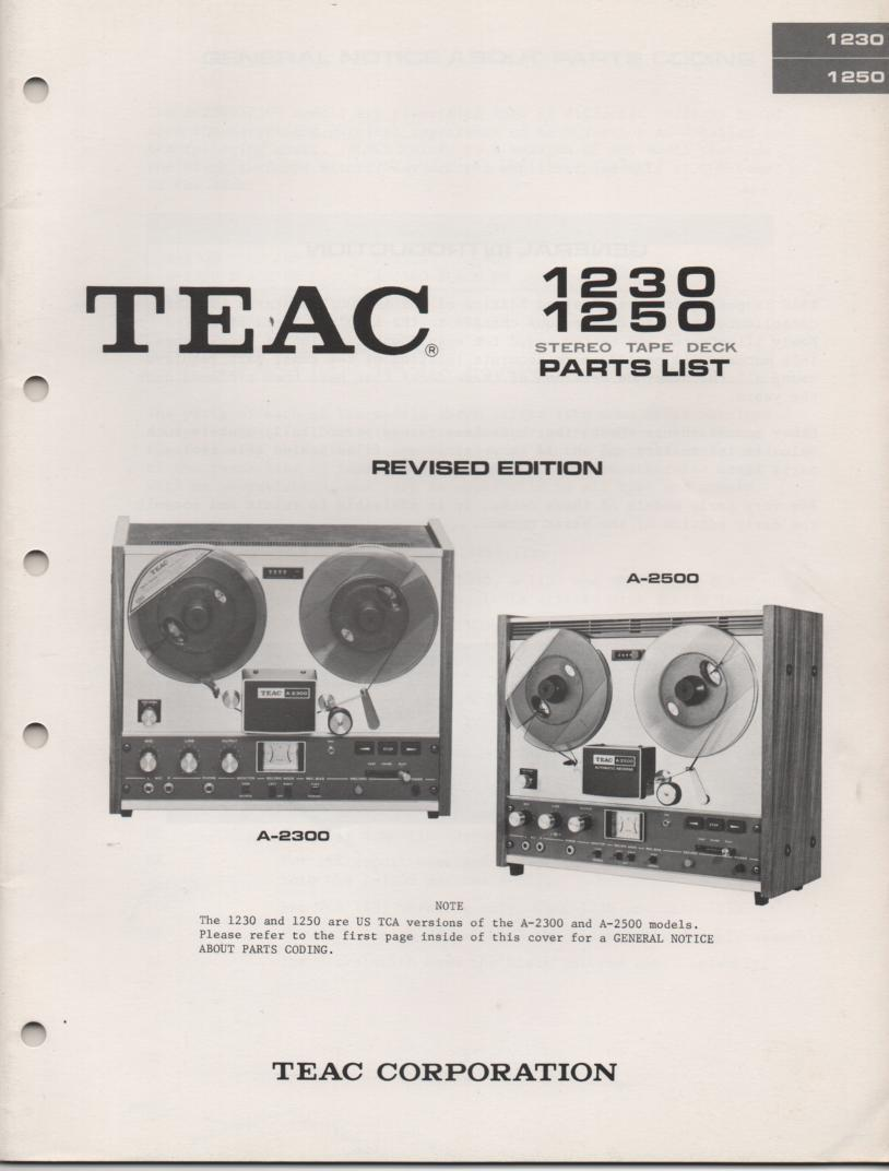 A-2500 A-1250 Reel to Reel Service Parts Manual  TEAC