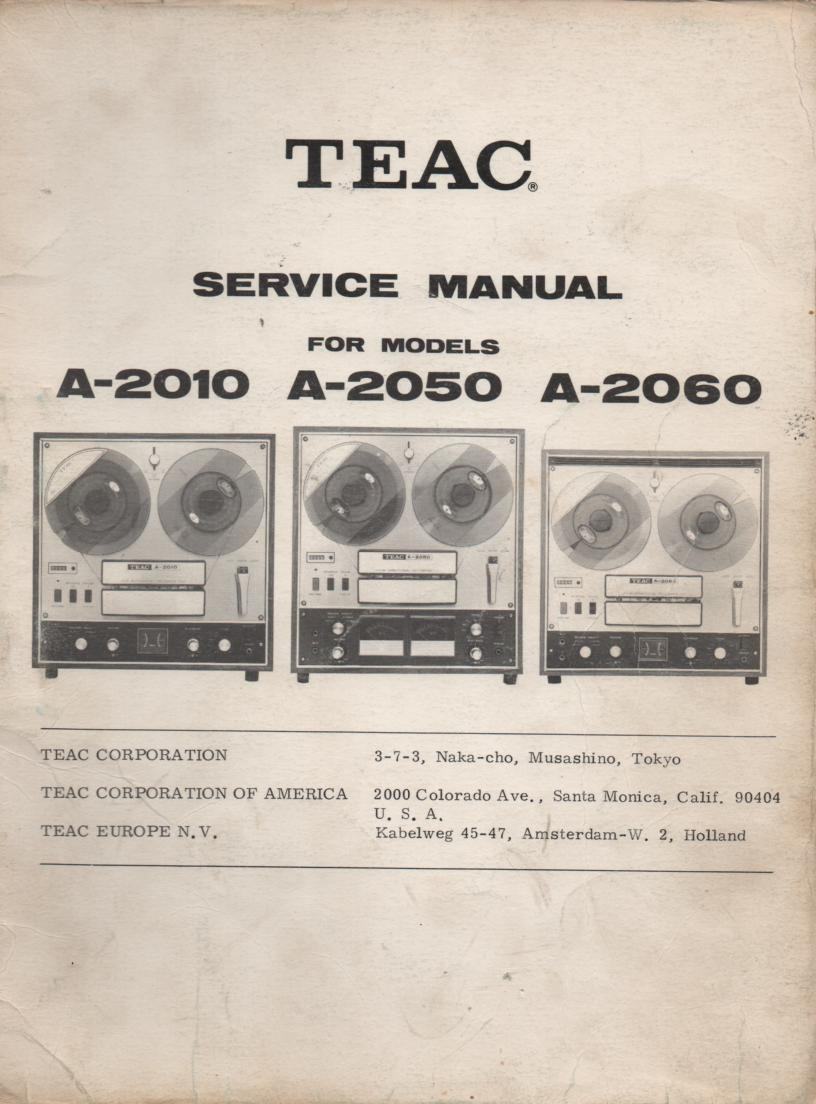 A-2060 A-2010 Reel to Reel Service Manual  TEAC