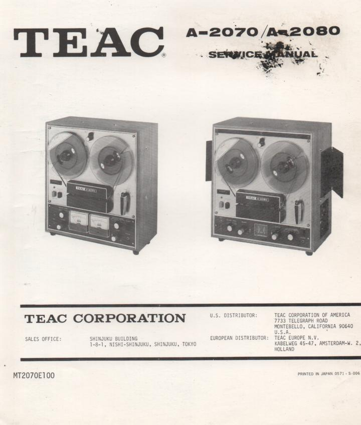 A-2070 A-2080 Reel to Reel Service Manual  TEAC