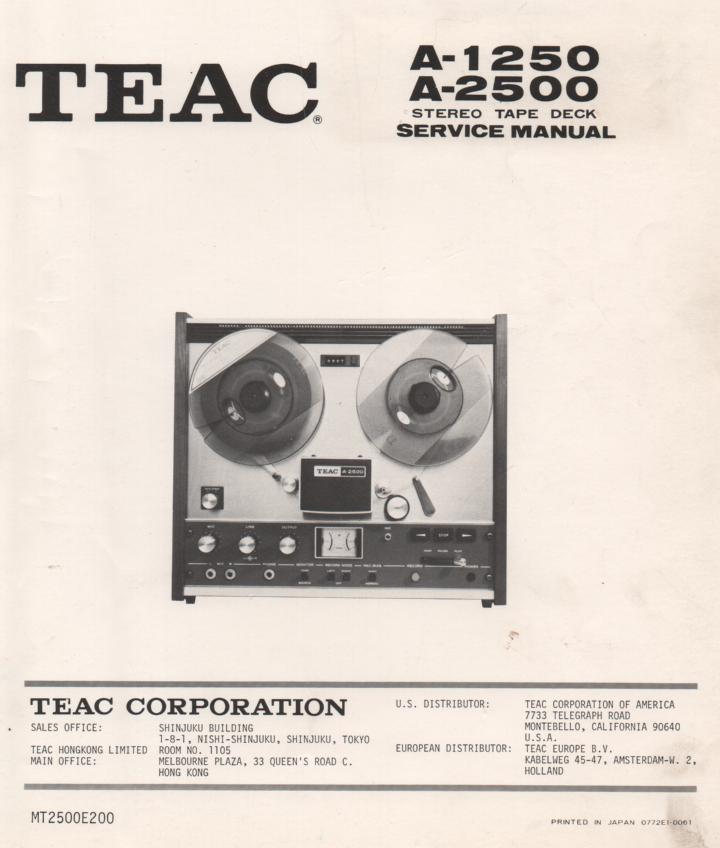 A-2500 A-1250 Reel to Reel Service Manual.  TEAC