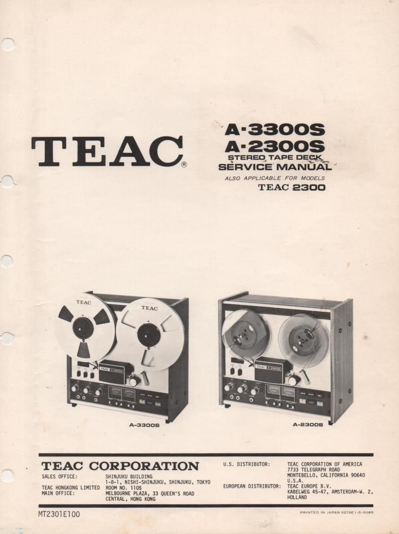 A-3300S A-2300S Reel to Reel Service Manual  TEAC