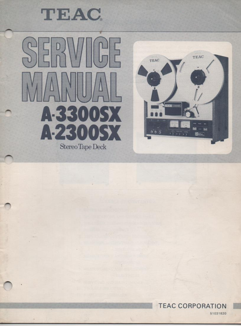 A-2300SX A-3300SX Reel to Reel Service Manual. 2 Manual set with foldup schematics.  TEAC